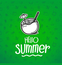 hello summer green banner with summer logo vector image