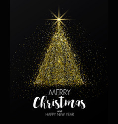 holiday new year card- golden christmas tree vector image