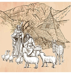 Holy family - An hand drawn Line art vector image
