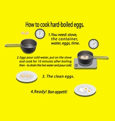 How to cook hard-boiled eggs vector
