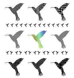 Hummingbird Silhouette Set vector