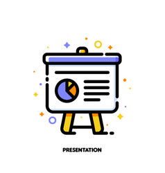 icon of presentation with business analytics vector image