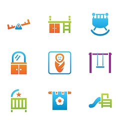 icon set places for child vector image