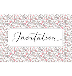 Invitation card with hand written custom vector