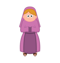 isolated virgin mary cartoon character christmas vector image