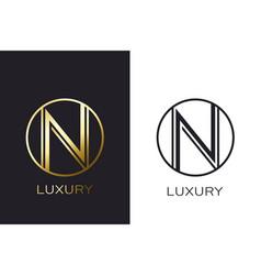 logo n monogram gold letter seal mockup elegant vector image