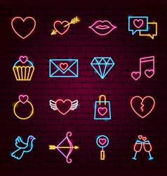 love valentine neon icons vector image