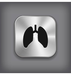 Lungs icon - metal app button vector image