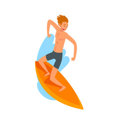 male surfer character riding waves with surfboard vector image