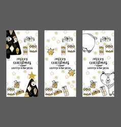 Merry christmas creative handdrown card with vector