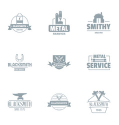Metalworking logo set simple style vector