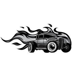 Monochromatic vintage car hot rod garage hotrods vector
