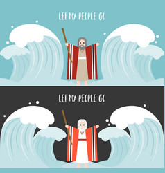 Moses separate the sea in exodus vector