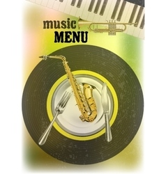 Music menu with wind instruments vector