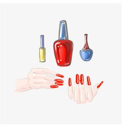 Nail art and nail polish set beautiful female vector
