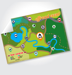 Offroad event and camping map icons set vector