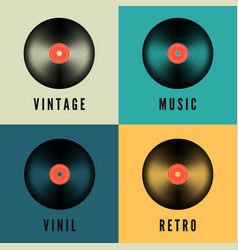 old music vinyl record set in retro colors album vector image