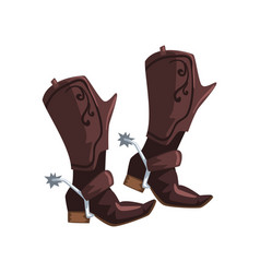 Pair of cowboy leather boots vector