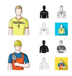 People of different professions cartoonblackflat vector