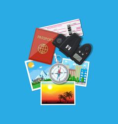 Photo camera and photos travel concept vector