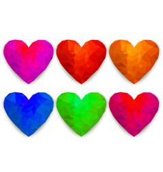 polygonal hearts vector image