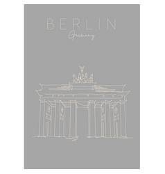 poster brandenburg gate grey vector image
