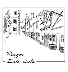 prague hand drawn sketch zlata ulicka vector image