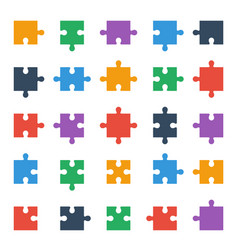 Puzzle piece icons all possible shapes of jigsaw vector
