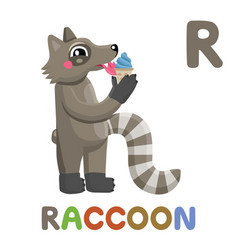 r is for raccoon letter r raccoon cute animal vector image