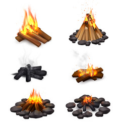 Realistic steaming campfire collection vector