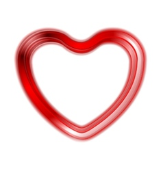 Red glow heart on white background vector image