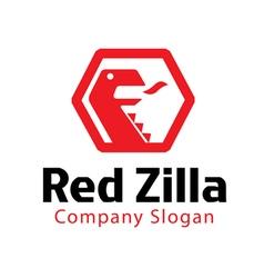 Red zilla design vector