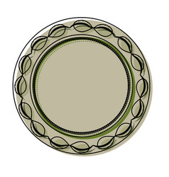 round ethnic frame with leaves vector image
