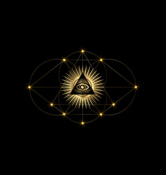 Sacred masonic symbol third eye logo design vector