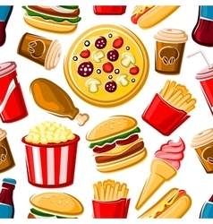 Seamless pattern of fast food dishes and drinks vector image