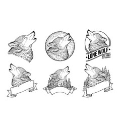 set a howling wolves vector image