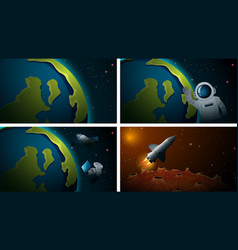 set different space scenes vector image