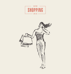 shopping girl walking bags drawn sketch vector image