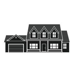 silhouette suburban american house vector image