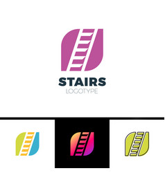 stairs logotype simple form sign with negative vector image