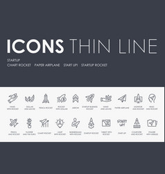 Startup thin line icons vector
