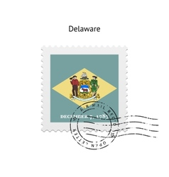 State of Delaware flag postage stamp vector
