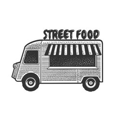 street food truck line art sketch vector image