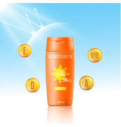 Sunscreen bottle mockup ad - cosmetic sun vector