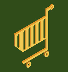 supermarket shopping cart flat isolated on color vector image