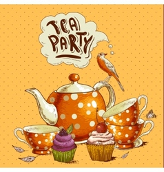 Tea party invitation card with a cupcake and pot vector