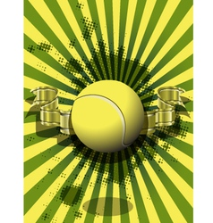 Tennis ball on a green background vector