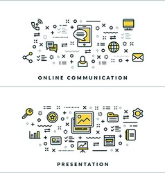 Thin Line Online Communication Presentation vector