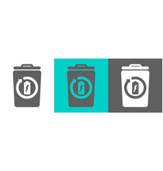 trash bin element with battery outline icon vector image