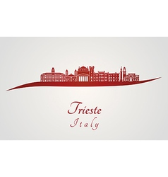 Trieste skyline in red vector image